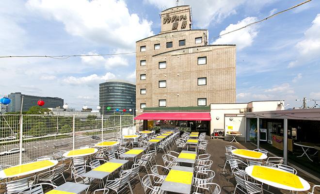 プラザホテル豊田屋上ビアガーデンで生ビール